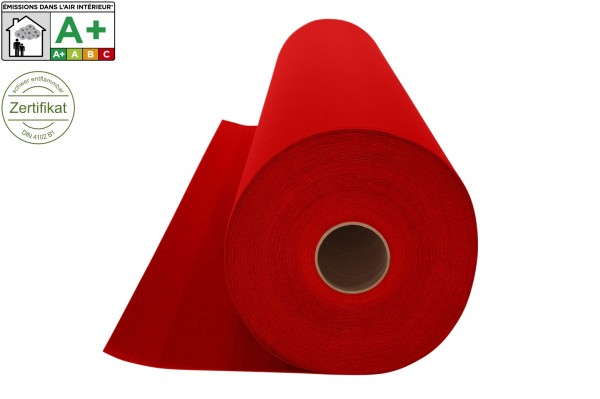 Restlagerposten 4m breit - Messeteppichboden Rips B1 -Nr. 11 rot